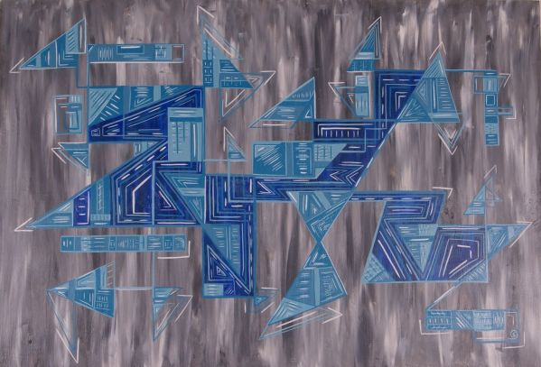Blue Fractures 4 ft x 30 in